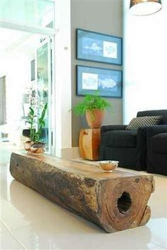 Coffee table made out of a wood log