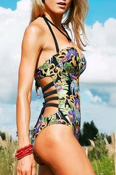 Sexy Strappy Printed One-Piece Hollow Out Women's Swimwear