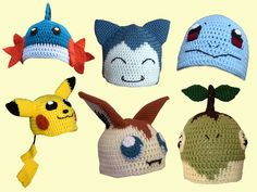Crochet pokemon hats. Yes, please. @AliAndLilly We could have these done by, oh i dont know, someones birfday?