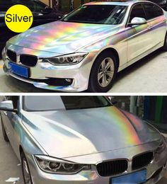 Holographic Laser Chrome Silver Iridescent Vinyl Wrap Car Film Air Bubble Free