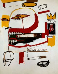 I have added 19 images from Jean-Michel Basquiat to SCAD's Digital Image Database. Jean-Michel Basquiat, Tabac, acrylic and oil on canvas, 219 x 173 cm, private collection Keith Haring, Jean Basquiat, Jean Michel Basquiat Art, Art Andy Warhol, Basquiat Paintings, Basquiat Artist, Radiant Child, Graffiti, Jasper Johns