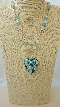 Chunky blue heart pendant, pastel blue necklace, regency style necklace, heart and beads, anniversary gift, present for girlfriend - £10.50 GBP