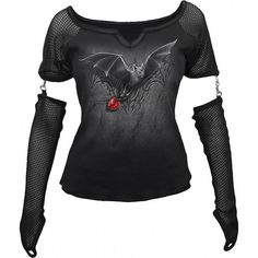 Black gothic shirt with mesh sleeves, from the Spiral womens clothing collection, with Stolen Heart bat print.