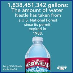 ArrowHead is owned by Nestle...stop purchasing their water bottles and giving them more power!