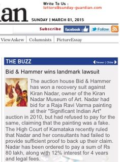 Bid & Hammer wins landmark lawsuit: Sunday Guardian, 1st March 2015
