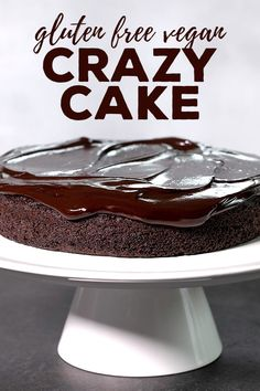 crazy cake is a gluten free chocolate cake made with no eggs, no butter and no chopped chocolate—but it's still super moist and tender. Gluten Free Chocolate Cake, Gluten Free Sweets, Gluten Free Cakes, Gluten Free Baking, Homemade Chocolate, Vegan Chocolate, Chocolate Recipes, Gluten Free Recipes, Cake Chocolate