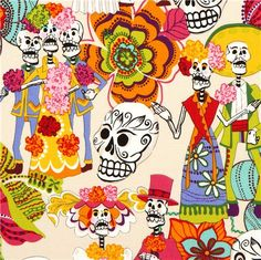 beige Alexander Henry fabric with skeletons and skulls 1