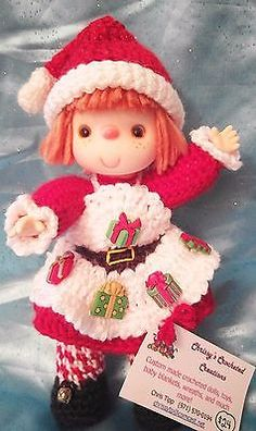 Adorable-Vintage-Style-10-Hand-Crocheted-Doll-Lil-Santa-Cutie