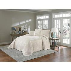 $59.99 Cannon Ivory Bedspread--COULD USE FOR A BASE AND ADD BLUE FOR SUMMER-Tuscan uses simple with accents