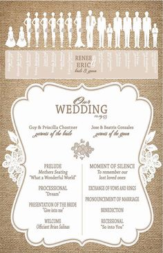 Burlap and Lace Wedding Programs   Ceremony by InvitingMoments, $93.50