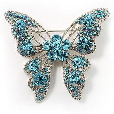 Dazzling Light Blue Crystal Butterfly Brooch Avalaya. $31.50. Type: crystal. Metal Finish: rhodium plated. Occasion: anniversary, cocktail party, going to theatre. Gemstone: swarovski crystal. Theme: insect, butterfly