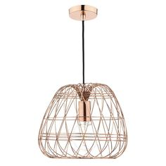 The Woven Pendant light by Dar is a Contemporary looking light that is constructed of a Copper Woven Cage. This light fitting would look great with a Vintage Filament Style Lamp.