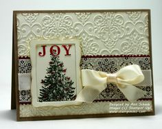 SU Christmas Lodge Tree, Joyous Celebrations, Lacy Brocade and Designer Frames E F, Finishing Touches Edgelit, Illuminate Glimmer Watermark Ink
