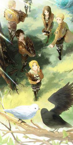 Image de Annie Leonhardt, Eren Yeager, Mina Carolina, Thomas Wagner de la série Shingeki No Kyojin dessinée par Rnia