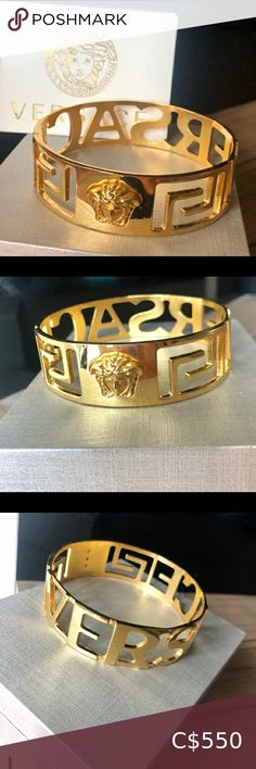 "Versace Bangle - Gold Tone Brass Gold Tone Brass Bracelet only worn less than a handful of times. In excellent condition and stored in a box. Authenticity card included. Diameter 2.75"" Height 0.75"" Versace Jewelry Bracelets"