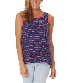 Look what I found on #zulily! Navy Blue & Coral Triangle Sleeveless Blouse #zulilyfinds