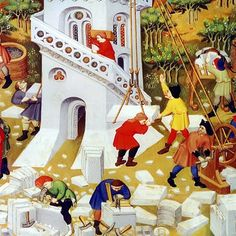 """Detalle """"Building the Tower of Babel"""", the Bedford Book of Hours. - carregado"""