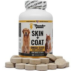 Thunderpaws Skin and Coat 9 Chewable Tablets for Dogs and Cats With MSM, Vitamins Minerals – Made With Fish Oil and Plant Oils In The USA with USA Sourced Ingredients ** Details can be found by clicking on the image. (This is an affiliate link) Probiotics For Dogs, Indestructable Dog Bed, Wireless Dog Fence, Dog Shock Collar, Cat Nutrition, Good Manufacturing Practice, Dog Store, Dogs For Sale, Dog Carrier