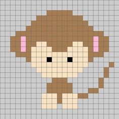Animal monkey cross stitch.