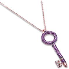Rose Gold Plated Micro Pave Simulated Ruby and CZ Key Charm .925 Sterling Silver Pendant Necklace *** For more information, visit image link. (This is an affiliate link and I receive a commission for the sales)