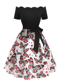 Plus Size Off Shoulder Butterfly Dress Vintage Dresses 50s, 50s Dresses, Retro Dress, Short Dresses, 50s Vintage, Girls Fashion Clothes, Teen Fashion Outfits, Mode Outfits, Fashion Dresses