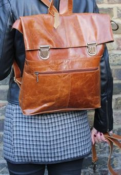 Ruckbag rucksack tan leather
