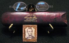 The prescription eyeglasses of   Abraham Lincoln with rich leather   gold embossed optical case.