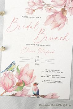 A feminine bridal brunch invittation template for all those that love magnolias. Our templates are fully editabble, s you can make this for any occasion you need. #magnoliawedding #southernwedding #pinkwedding #blushwedding #kitchentea #bridal shower