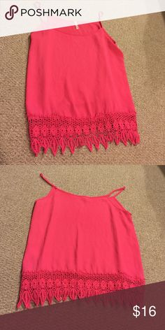 Hot pink dressy tank top with detailed lace Hot pink dressy tank top with detailed flower, leaves, and circle lace at the bottom. Very dressy and cute. Tops Tank Tops
