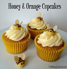 A recipe for some super cute Honey & Orange Cupcakes, topped with orange icing and bees made from marzipan, flaked almonds & chocolate Biscoff Cupcakes, Honey Cupcakes, Yellow Cupcakes, Cute Cupcakes, Themed Cupcakes, Cupcake Flavors, Cupcake Recipes, Cupcake Cakes, Pig Cakes