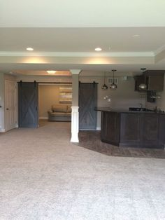 How to Finish Your Basement and Basement Remodeling Finishing your basement can almost double the square foot living space of your home. A finished basement can include new living space such as a r… Small Basements, Basement Bar, Remodel, Basement Makeover, Home, Home Renovation, Waterproofing Basement, Basement Flooring, Basement Decor