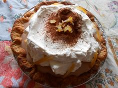 Nesselrode Pie - rich chestnut cream studded with candied chestnuts and topped with billows of fresh whipped cream and a hint of cocoa and orange.