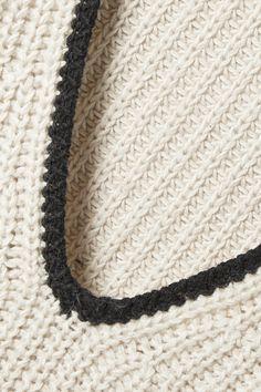 Cream Cicuta ribbed-knit sweater   BY MALENE BIRGER   NET-A-PORTER Malene Birger, Black Trim, Fashion News, Knitwear, Leather Pants, Skinny Jeans, V Neck, Pullover, Wool