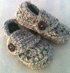 Crocheted Baby Boy Loafer Booties in Grey by sheladyboutique, $14.95    SO cute! Could probably make these, but they are so darling :-)