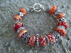 European-Style-Murano-Glass-Beads-Charm-Bracelet-Red-Orange-White