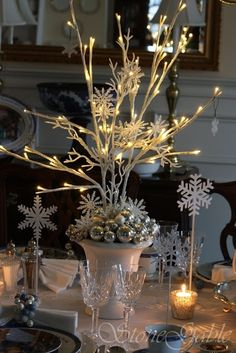 Beautiful #DIY Lighted Branches for #Christmas Table #Centerpiece by Loveekeemia
