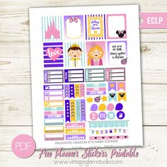 Enchanted Kingdom Planner Stickers | Free printable for the Erin Condren Planner