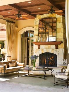 Outdoor fireplace - BHG - Contrast Is Key