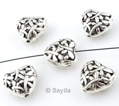 www.sayila.com - Metal bead heart ± 15x8mm
