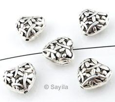 www.sayila.com - Metal bead heart ± 15x8mm