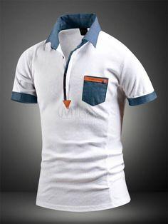 2462c744891d White Shaping Print Cotton Polo Shirt for Men
