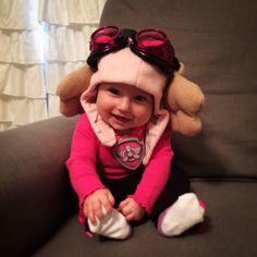 Paw Patrol Skye Halloween Costume: Pink Aviator Goggles from Amazon ($15) w/ ears sewn around strap, & pink Gap baby hat - projectsinparenting.com