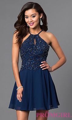 Beaded Short Open-Back Chiffon Homecoming Dress at PromGirl.com