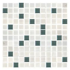 Mischiare Marble with Smokey and Snow Glass Mosaic 12 x 12 in.