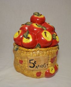 Hey, I found this really awesome Etsy listing at https://www.etsy.com/listing/207675986/cookie-jar-by-elements-basket-of-apples