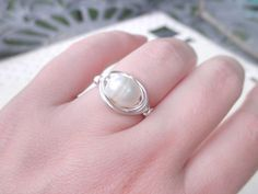 Freshwater Ring To Order Pearl Cream White Ivory Beige by gabeadz