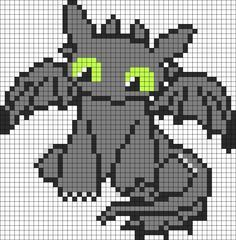 Cutie How To Train Your Dragon Toothless Perler Bead Pattern / Bead Sprite