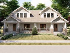 Lar Doce Lar Country Craftsman Duplex Plan with Units - Plan Duplex, Duplex Floor Plans, House Plan With Loft, Family House Plans, Plans Architecture, Architecture Design, Duplex House Design, Townhouse Designs, Sweet Home