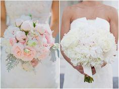 pretty light pink cabbage rose bride's bouquet, pretty white rose and hydrangea bride's bouquet