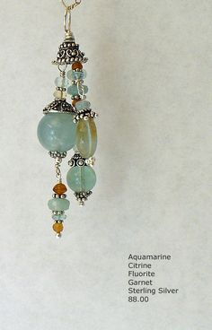 Aquamarine and Sterling Silver Pendant handmade and one of a kind by A. Denise Rollings-Martin  www.lilygirlart.com  $88.00